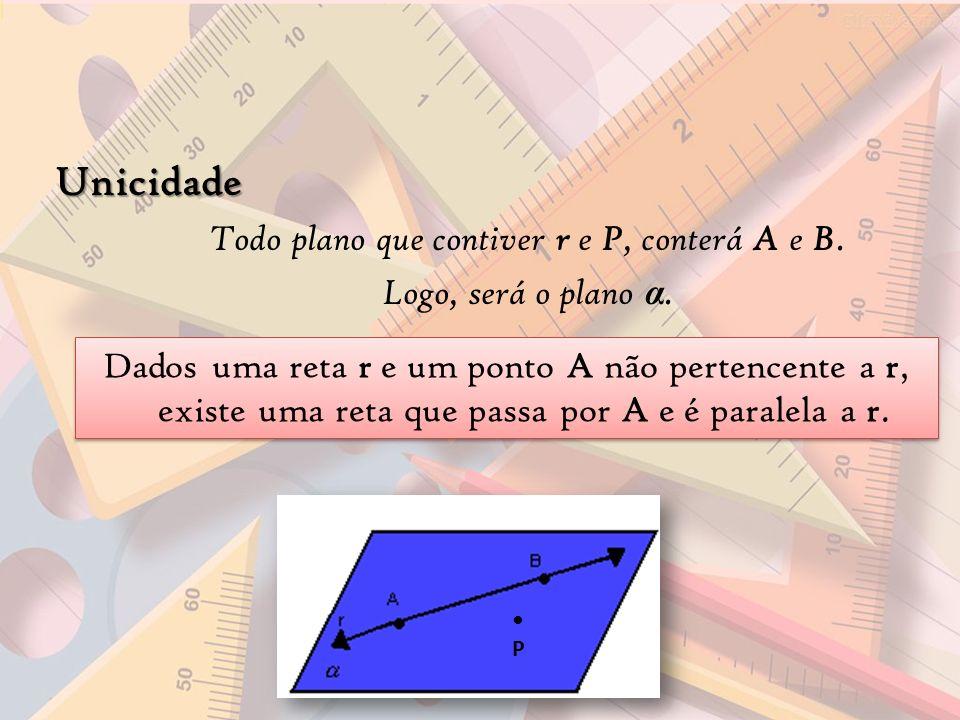 Unicidade Todo plano que contiver r e P, conterá A e B. Logo, será o plano α. Dados uma reta r e um ponto A não pertencente a r, existe uma reta que p