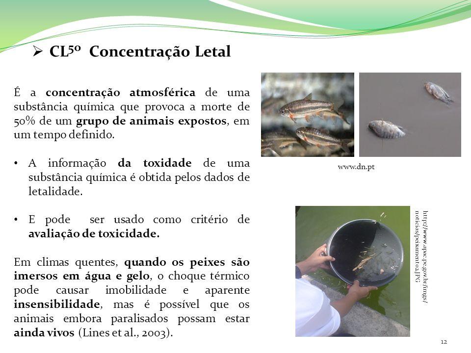 CL 50 Concentração Letal É a concentração atmosférica de uma substância química que provoca a morte de 50% de um grupo de animais expostos, em um temp