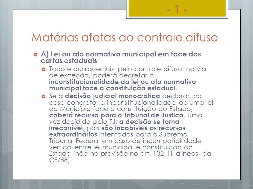 Matérias afetas ao controle difuso A) Lei ou ato normativo municipal em face das cartas estaduais Todo e qualquer juiz, pelo controle difuso, na via d