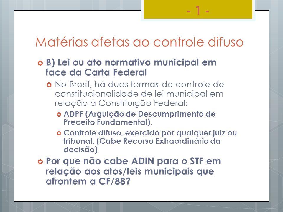 Matérias afetas ao controle difuso B) Lei ou ato normativo municipal em face da Carta Federal No Brasil, há duas formas de controle de constitucionali