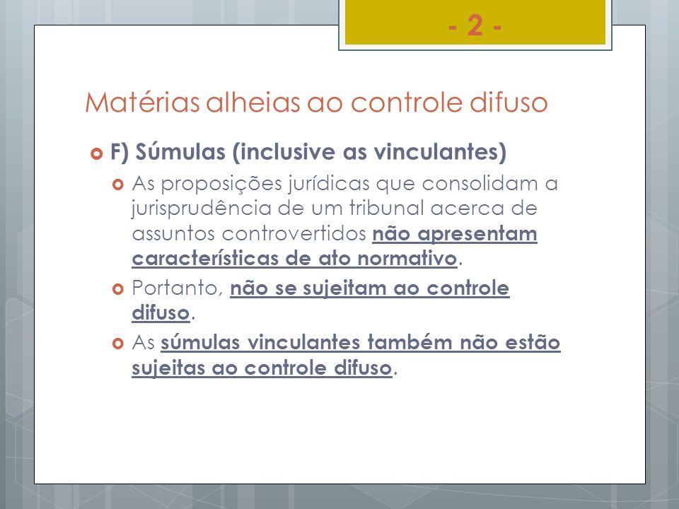 Matérias alheias ao controle difuso F) Súmulas (inclusive as vinculantes) As proposições jurídicas que consolidam a jurisprudência de um tribunal acer