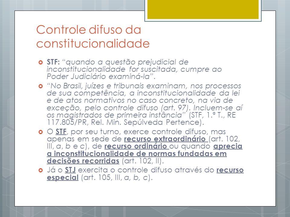 Controle difuso da constitucionalidade STF: quando a questão prejudicial de inconstitucionalidade for suscitada, cumpre ao Poder Judiciário examiná-la