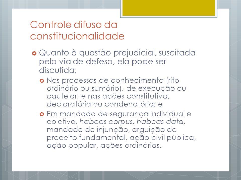 Controle difuso da constitucionalidade Quanto à questão prejudicial, suscitada pela via de defesa, ela pode ser discutida: Nos processos de conhecimen