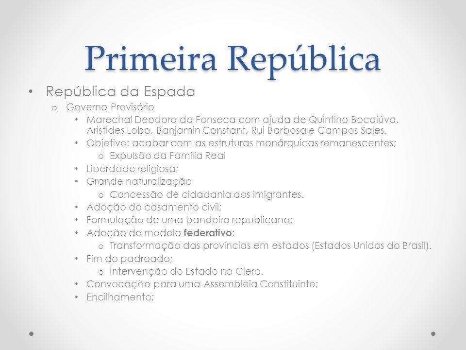 República da Espada o Governo Provisório Marechal Deodoro da Fonseca com ajuda de Quintino Bocaiúva, Aristides Lobo, Banjamin Constant, Rui Barbosa e