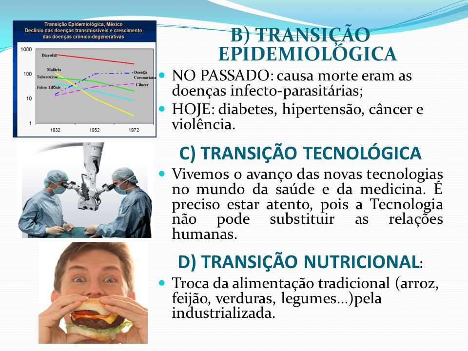 B) TRANSIÇÃO EPIDEMIOLÓGICA NO PASSADO: causa morte eram as doenças infecto-parasitárias; HOJE: diabetes, hipertensão, câncer e violência. C) TRANSIÇÃ