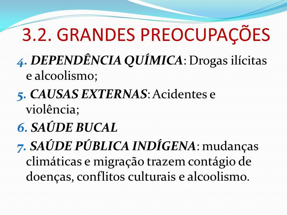 3.2. GRANDES PREOCUPAÇÕES 4. DEPENDÊNCIA QUÍMICA: Drogas ilícitas e alcoolismo; 5. CAUSAS EXTERNAS: Acidentes e violência; 6. SAÚDE BUCAL 7. SAÚDE PÚB