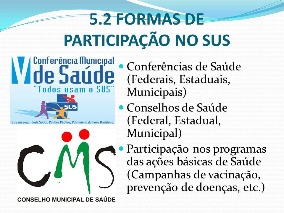 Conferências de Saúde (Federais, Estaduais, Municipais) Conselhos de Saúde (Federal, Estadual, Municipal) Participação nos programas das ações básicas