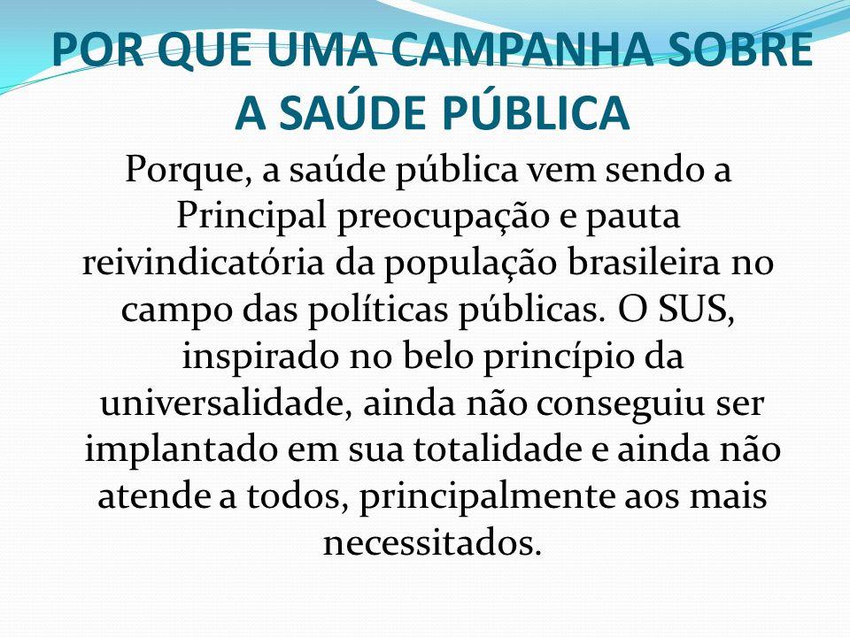 POR QUE UMA CAMPANHA SOBRE A SAÚDE PÚBLICA Porque, a saúde pública vem sendo a Principal preocupação e pauta reivindicatória da população brasileira n