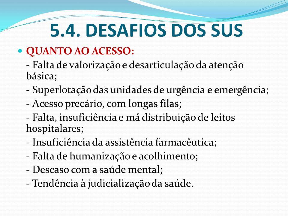 5.4. DESAFIOS DOS SUS QUANTO AO ACESSO: - Falta de valorização e desarticulação da atenção básica; - Superlotação das unidades de urgência e emergênci