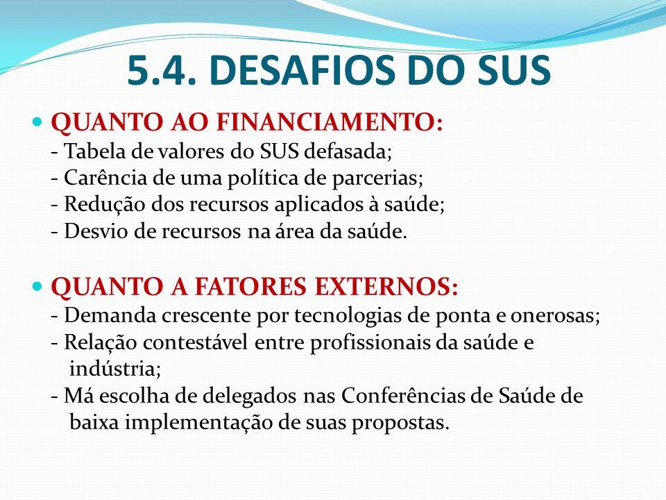 5.4. DESAFIOS DO SUS QUANTO AO FINANCIAMENTO: - Tabela de valores do SUS defasada; - Carência de uma política de parcerias; - Redução dos recursos apl