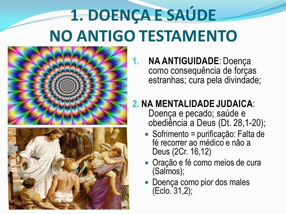 1. DOENÇA E SAÚDE NO ANTIGO TESTAMENTO 1. NA ANTIGUIDADE : Doença como consequência de forças estranhas; cura pela divindade; 2. NA MENTALIDADE JUDAIC