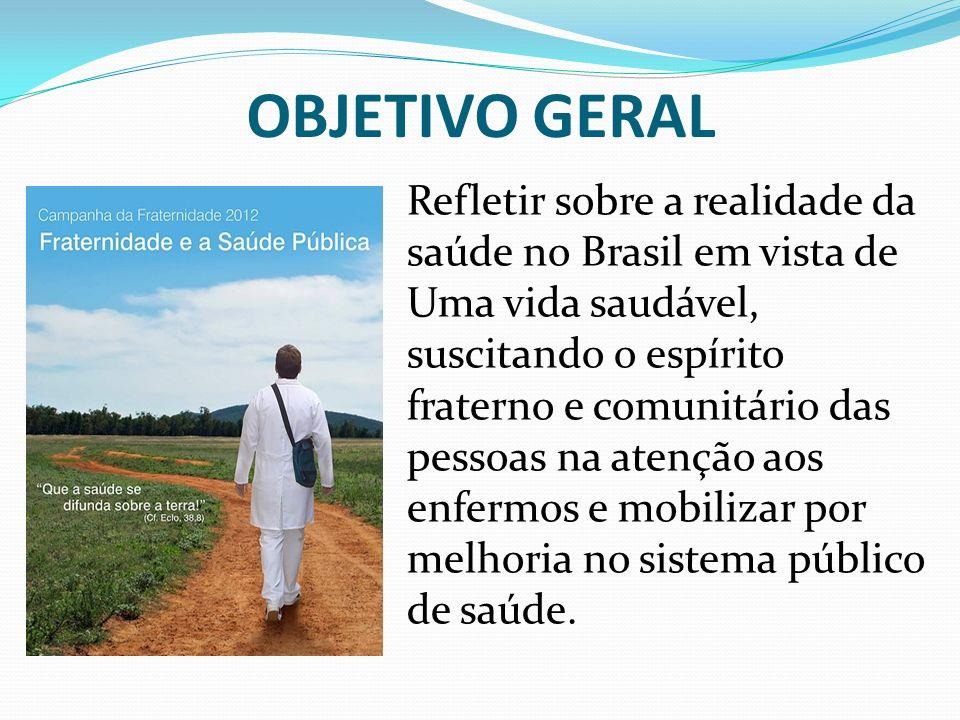 OBJETIVO GERAL Refletir sobre a realidade da saúde no Brasil em vista de Uma vida saudável, suscitando o espírito fraterno e comunitário das pessoas n