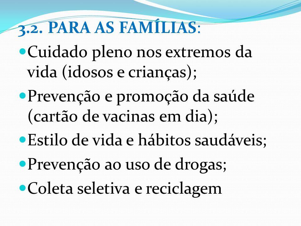 3.2. PARA AS FAMÍLIAS: Cuidado pleno nos extremos da vida (idosos e crianças); Prevenção e promoção da saúde (cartão de vacinas em dia); Estilo de vid