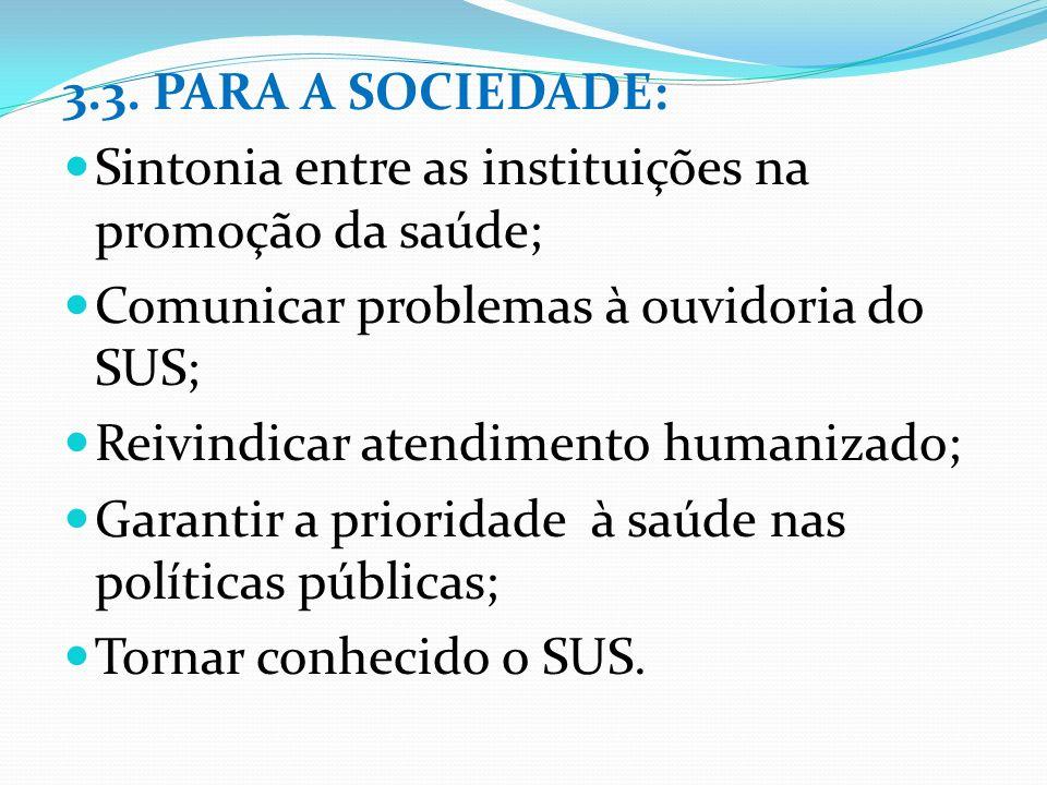 3.3. PARA A SOCIEDADE: Sintonia entre as instituições na promoção da saúde; Comunicar problemas à ouvidoria do SUS; Reivindicar atendimento humanizado
