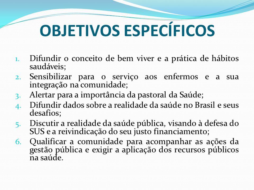 OBJETIVOS ESPECÍFICOS 1. Difundir o conceito de bem viver e a prática de hábitos saudáveis; 2. Sensibilizar para o serviço aos enfermos e a sua integr