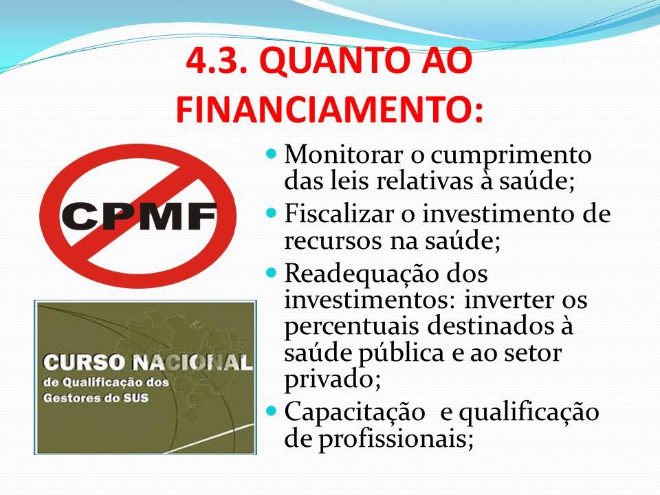 4.3. QUANTO AO FINANCIAMENTO: Monitorar o cumprimento das leis relativas à saúde; Fiscalizar o investimento de recursos na saúde; Readequação dos inve