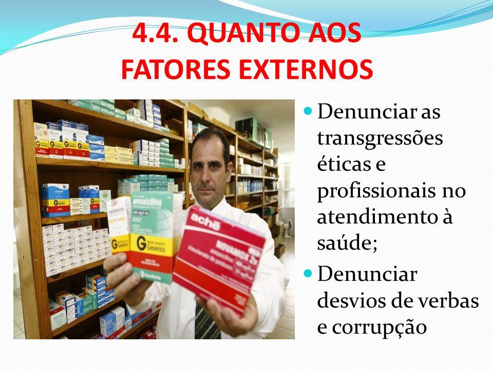4.4. QUANTO AOS FATORES EXTERNOS Denunciar as transgressões éticas e profissionais no atendimento à saúde; Denunciar desvios de verbas e corrupção