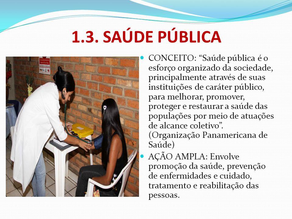 1.3. SAÚDE PÚBLICA CONCEITO: Saúde pública é o esforço organizado da sociedade, principalmente através de suas instituições de caráter público, para m