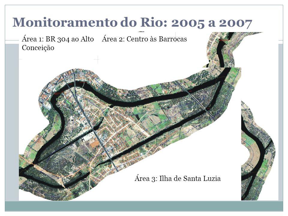 Monitoramento do Rio: 2005 a 2007 Área 1: BR 304 ao Alto Conceição Área 2: Centro às Barrocas Área 3: Ilha de Santa Luzia