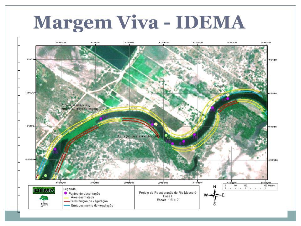 Margem Viva - IDEMA Agricultura Área de assoreamento Atividade agrícola Atividade pesqueira artesanal (subsistência) Boca de esgoto Captação de água C