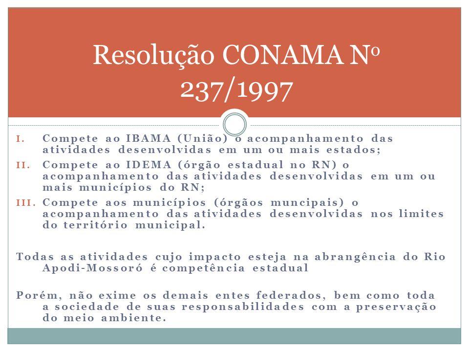 Resolução CONAMA N o 237/1997 I. Compete ao IBAMA (União) o acompanhamento das atividades desenvolvidas em um ou mais estados; II. Compete ao IDEMA (ó