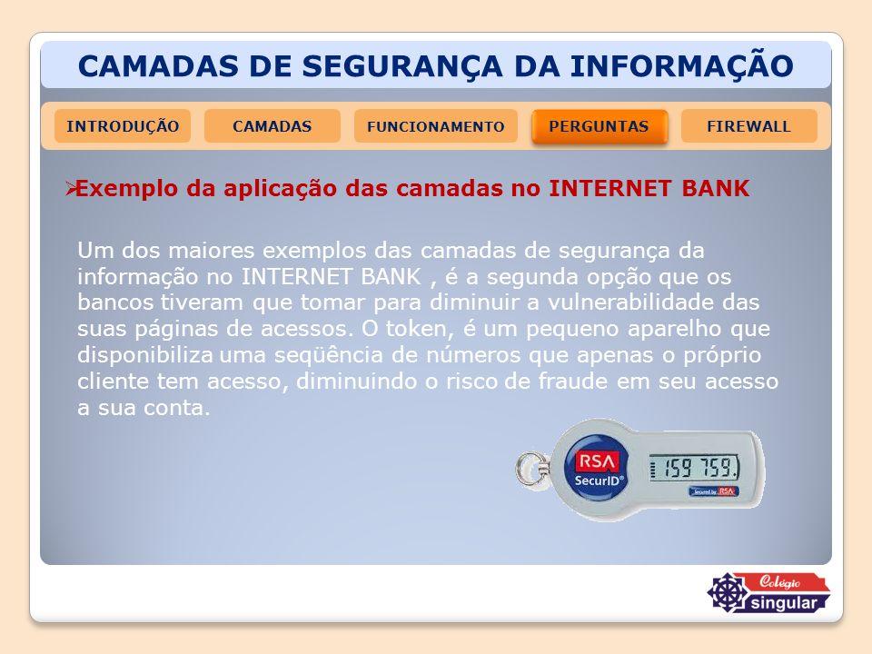CAMADAS DE SEGURANÇA DA INFORMAÇÃO INTRODUÇÃOCAMADAS FUNCIONAMENTO PERGUNTAS FIREWALL Exemplo da aplicação das camadas no INTERNET BANK Um dos maiores