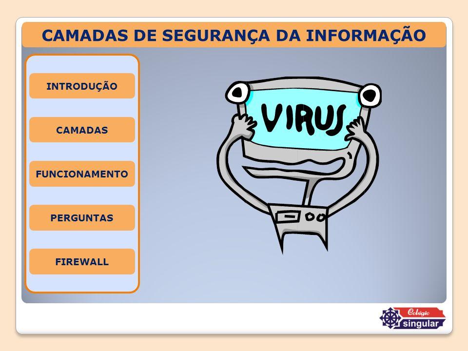 CAMADAS DE SEGURANÇA DA INFORMAÇÃO A segurança da informação está relacionada com proteção de um conjunto de informações, no sentido de preservar o valor que possuem para um indivíduo ou uma organização.