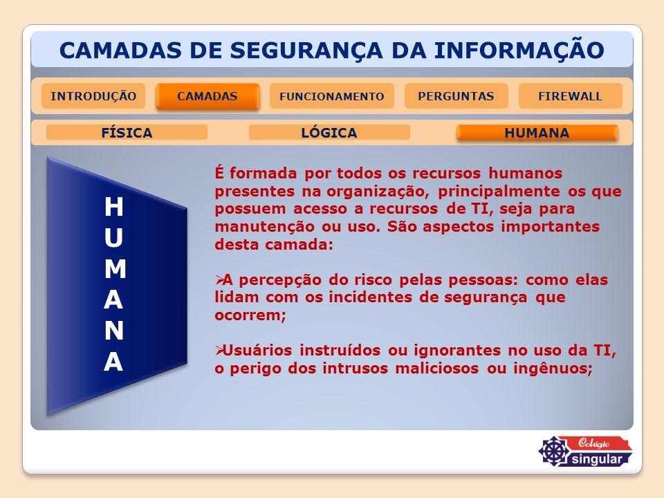 CAMADAS DE SEGURANÇA DA INFORMAÇÃO HUMANAHUMANA É formada por todos os recursos humanos presentes na organização, principalmente os que possuem acesso