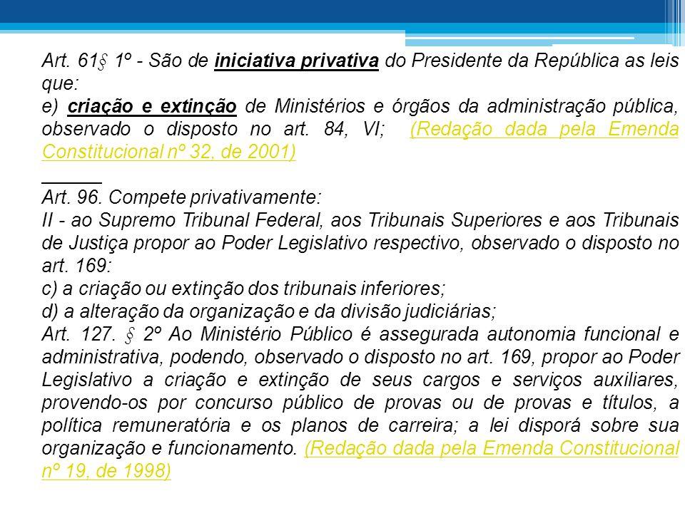 Art. 61§ 1º - São de iniciativa privativa do Presidente da República as leis que: e) criação e extinção de Ministérios e órgãos da administração públi