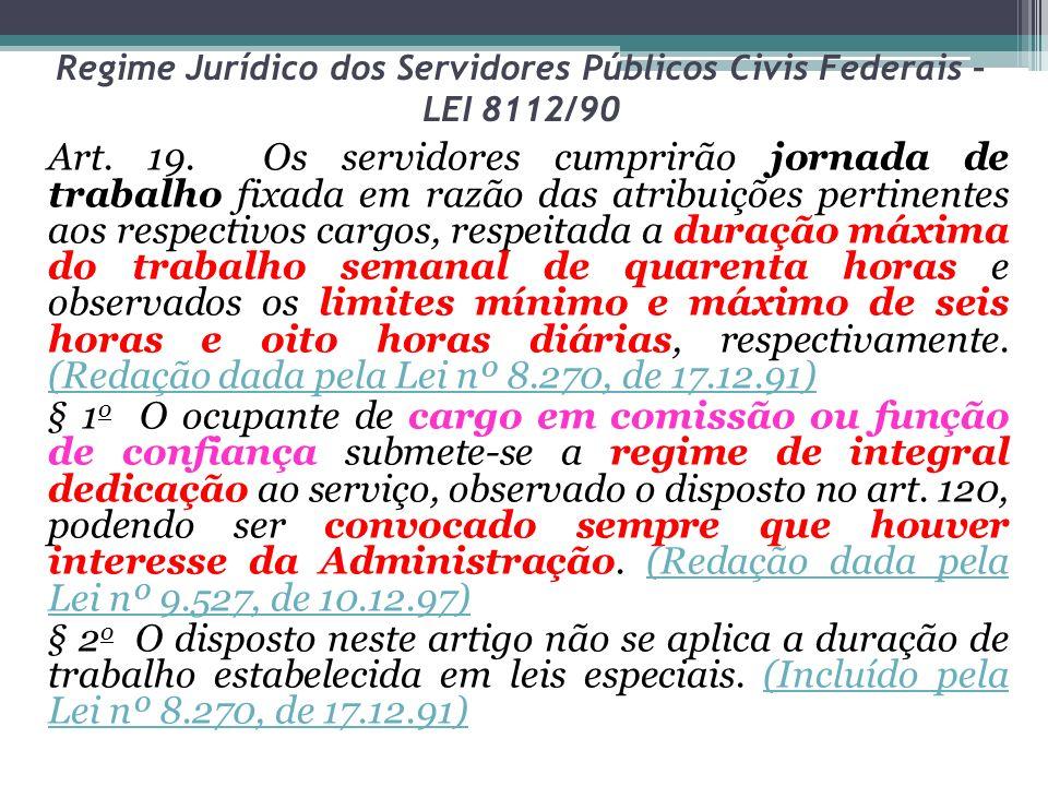 Regime Jurídico dos Servidores Públicos Civis Federais – LEI 8112/90 Art.