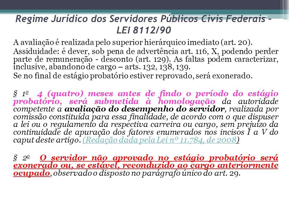 Regime Jurídico dos Servidores Públicos Civis Federais – LEI 8112/90 A avaliação é realizada pelo superior hierárquico imediato (art.