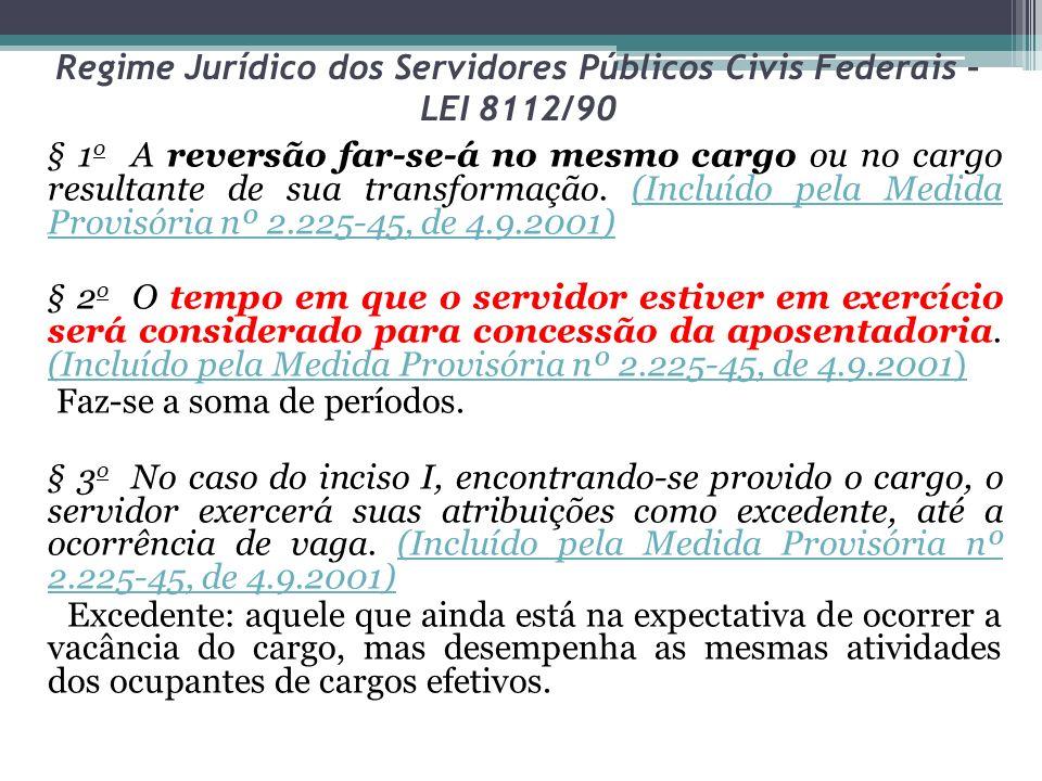 Regime Jurídico dos Servidores Públicos Civis Federais – LEI 8112/90 § 1 o A reversão far-se-á no mesmo cargo ou no cargo resultante de sua transformação.