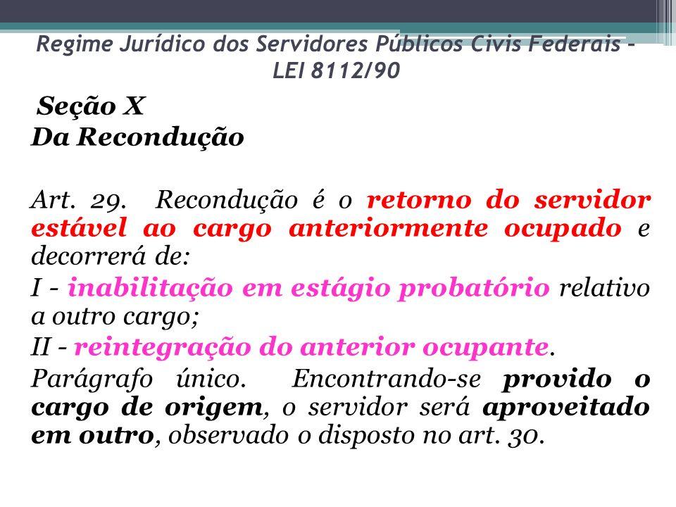 Regime Jurídico dos Servidores Públicos Civis Federais – LEI 8112/90 Seção X Da Recondução Art.
