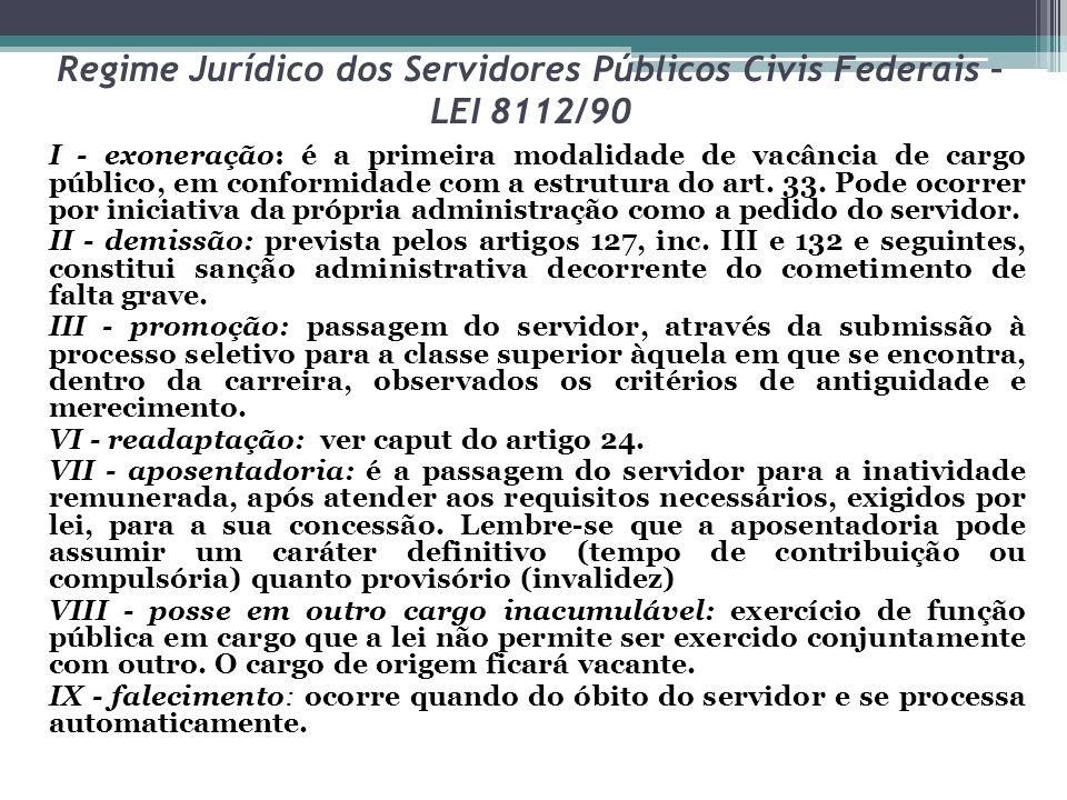 Regime Jurídico dos Servidores Públicos Civis Federais – LEI 8112/90 I - exoneração: é a primeira modalidade de vacância de cargo público, em conformidade com a estrutura do art.