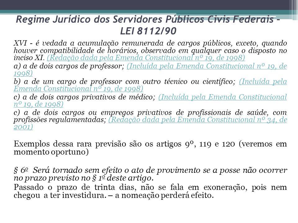 Regime Jurídico dos Servidores Públicos Civis Federais – LEI 8112/90 XVI - é vedada a acumulação remunerada de cargos públicos, exceto, quando houver compatibilidade de horários, observado em qualquer caso o disposto no inciso XI.