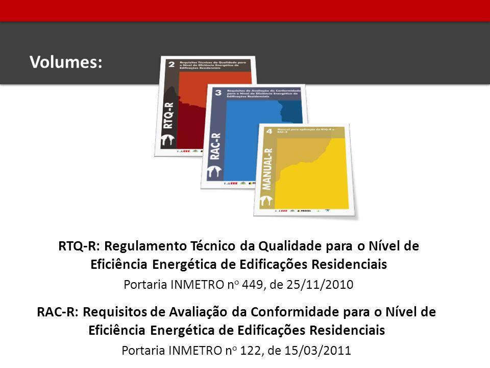 Volumes: RTQ-R: Regulamento Técnico da Qualidade para o Nível de Eficiência Energética de Edificações Residenciais Portaria INMETRO n o 449, de 25/11/2010 RAC-R: Requisitos de Avaliação da Conformidade para o Nível de Eficiência Energética de Edificações Residenciais Portaria INMETRO n o 122, de 15/03/2011