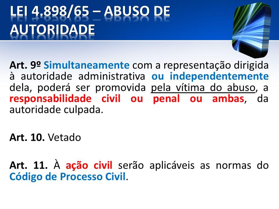 Art. 9º Simultaneamente com a representação dirigida à autoridade administrativa ou independentemente dela, poderá ser promovida pela vítima do abuso,