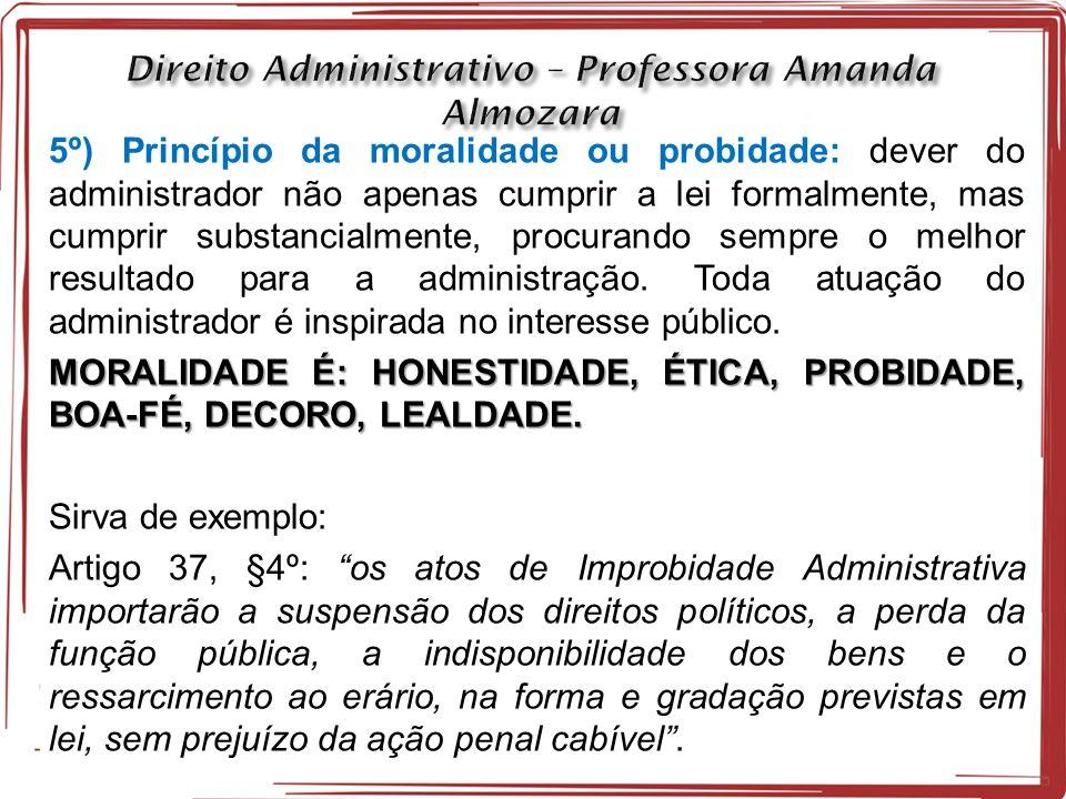 5º) Princípio da moralidade ou probidade: dever do administrador não apenas cumprir a lei formalmente, mas cumprir substancialmente, procurando sempre o melhor resultado para a administração.