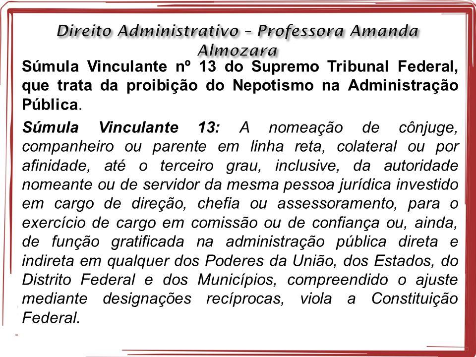 Súmula Vinculante nº 13 do Supremo Tribunal Federal, que trata da proibição do Nepotismo na Administração Pública.