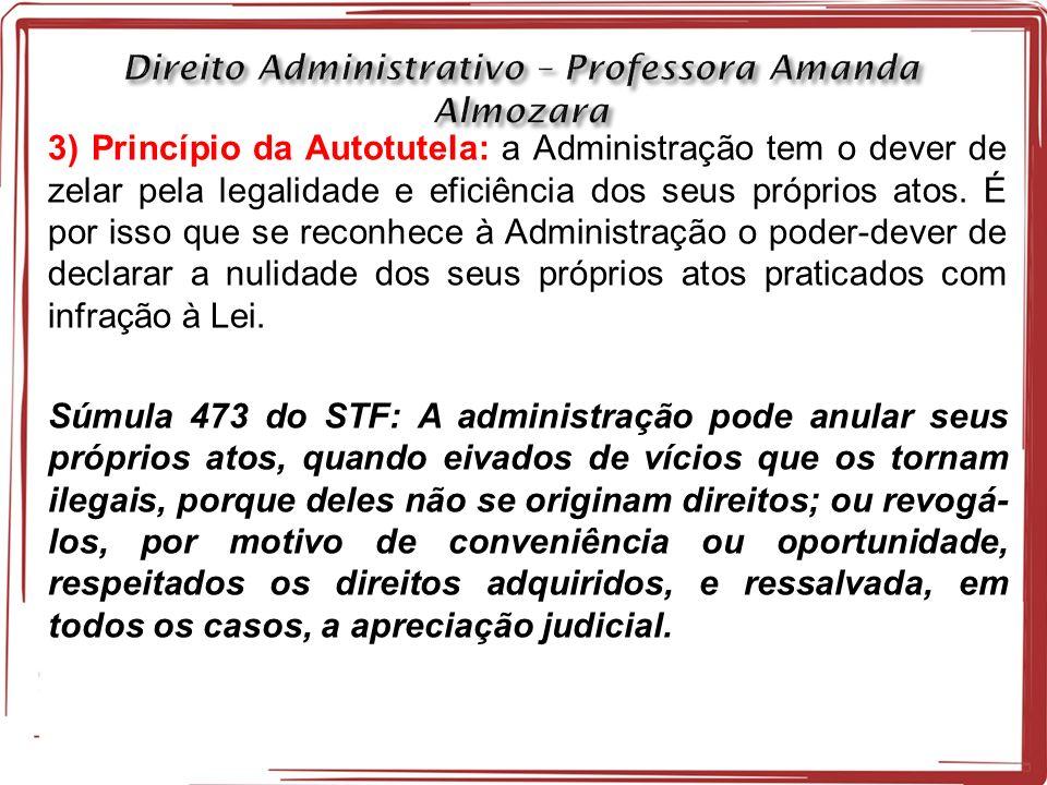 3) Princípio da Autotutela: a Administração tem o dever de zelar pela legalidade e eficiência dos seus próprios atos.