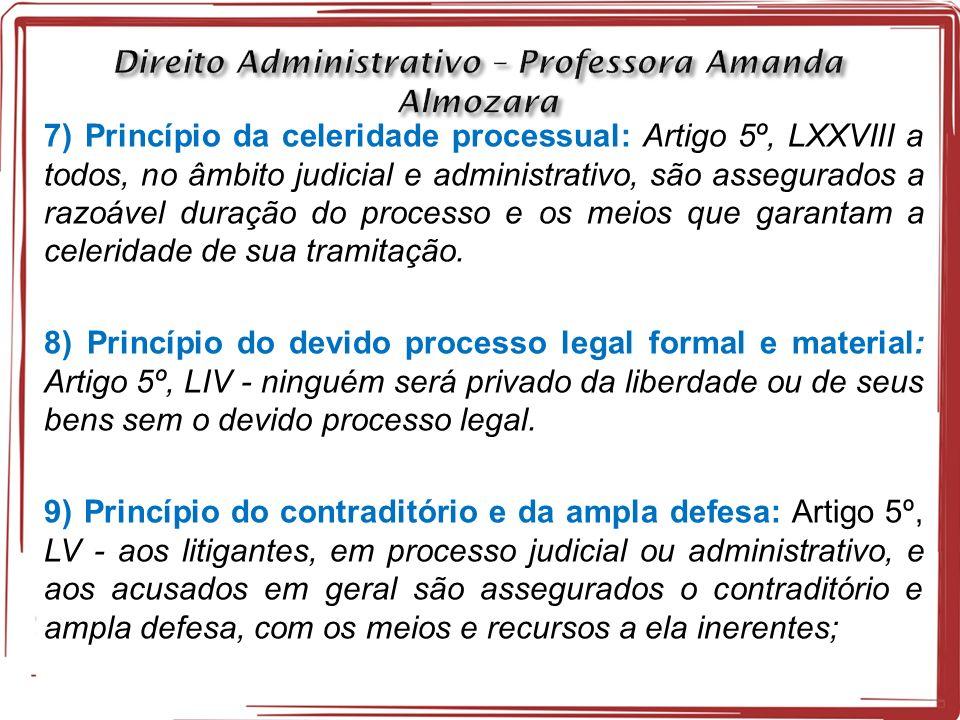 7) Princípio da celeridade processual: Artigo 5º, LXXVIII a todos, no âmbito judicial e administrativo, são assegurados a razoável duração do processo e os meios que garantam a celeridade de sua tramitação.