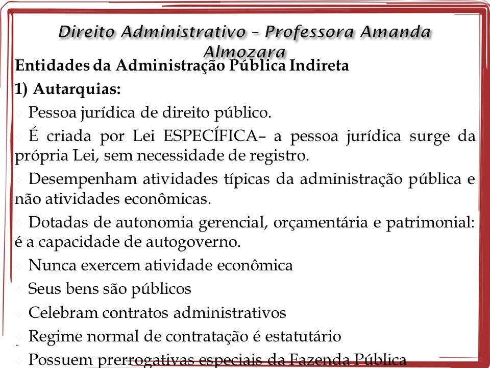 Entidades da Administração Pública Indireta 1) Autarquias: Pessoa jurídica de direito público.