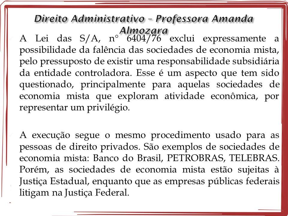 A Lei das S/A, n 6404/76 exclui expressamente a possibilidade da falência das sociedades de economia mista, pelo pressuposto de existir uma responsabilidade subsidiária da entidade controladora.