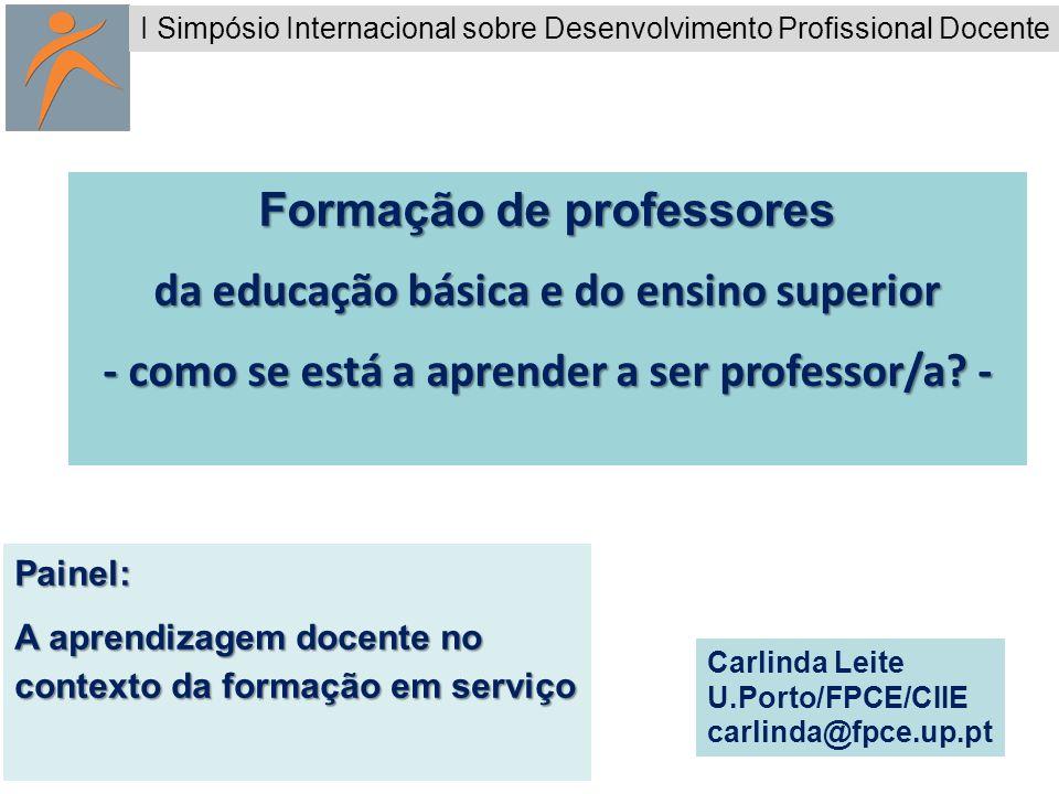 1 Formação de professores da educação básica e do ensino superior - como se está a aprender a ser professor/a? - Painel: A aprendizagem docente no con