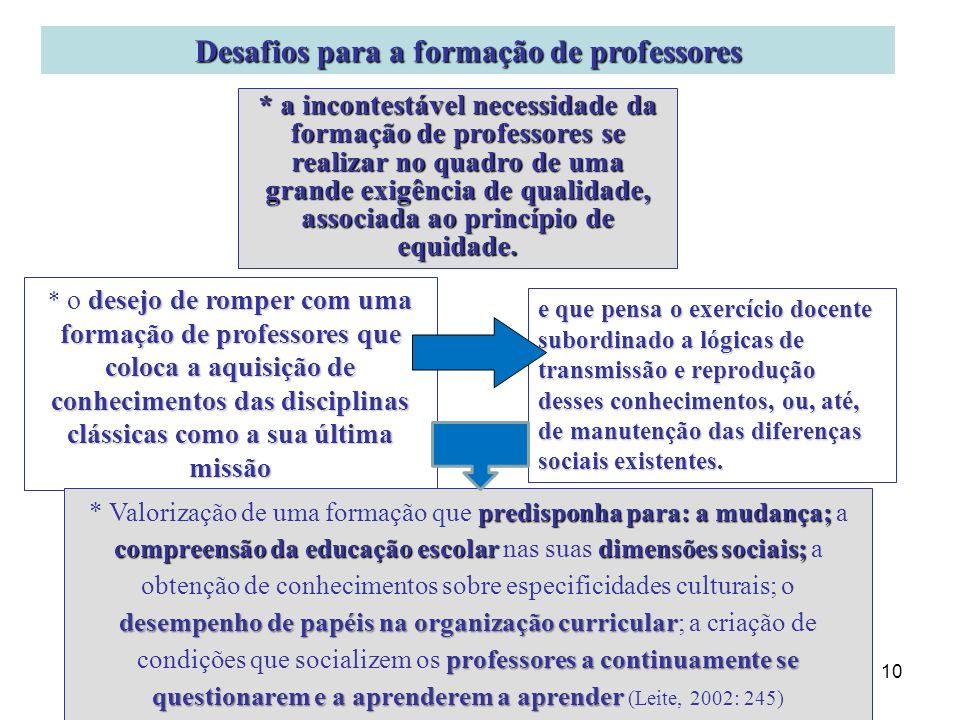 10 Desafios para a formação de professores desejo de romper com uma formação de professores que coloca a aquisição de conhecimentos das disciplinas cl