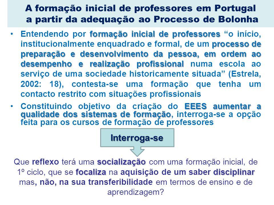 A formação inicial de professores em Portugal a partir da adequação ao Processo de Bolonha formação inicial de professores processo de preparação e de