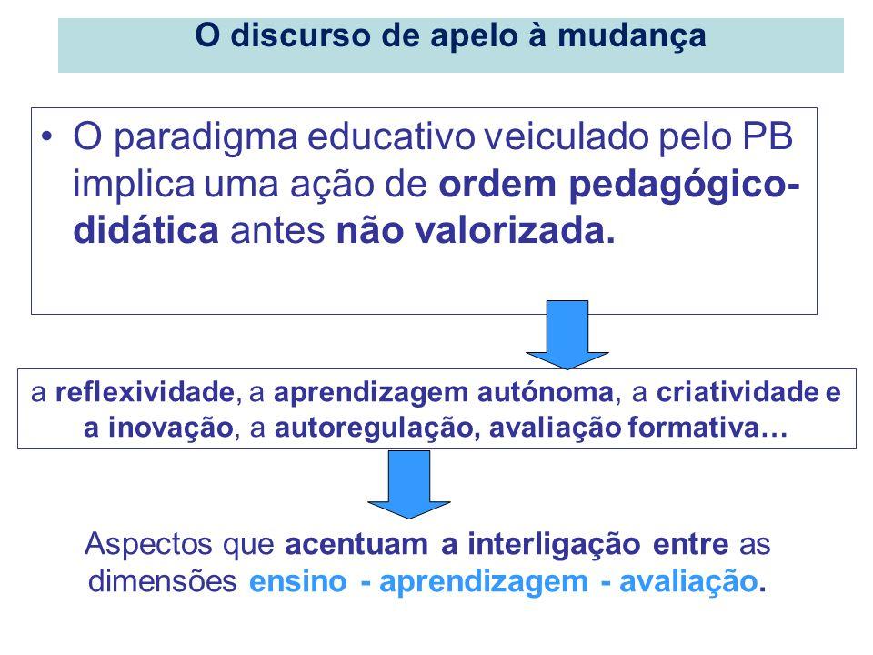 O paradigma educativo veiculado pelo PB implica uma ação de ordem pedagógico- didática antes não valorizada. a reflexividade, a aprendizagem autónoma,