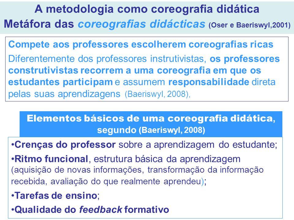 A metodologia como coreografia didática Metáfora das coreografias didácticas (Oser e Baeriswyl,2001) Compete aos professores escolherem coreografias r