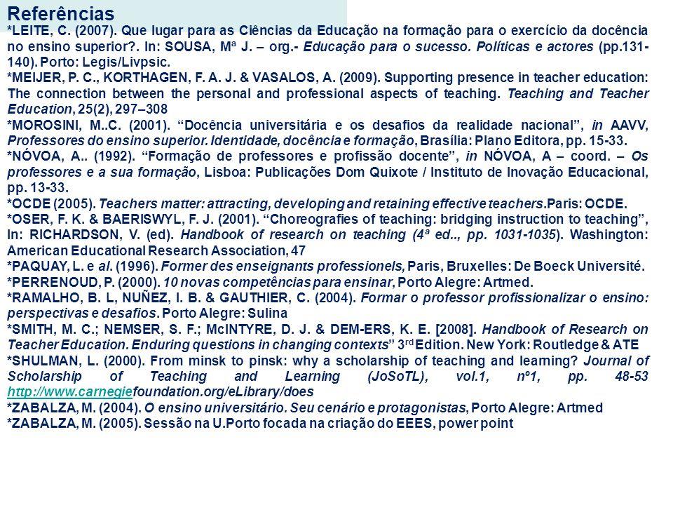 Referências *LEITE, C. (2007). Que lugar para as Ciências da Educação na formação para o exercício da docência no ensino superior?. In: SOUSA, Mª J. –