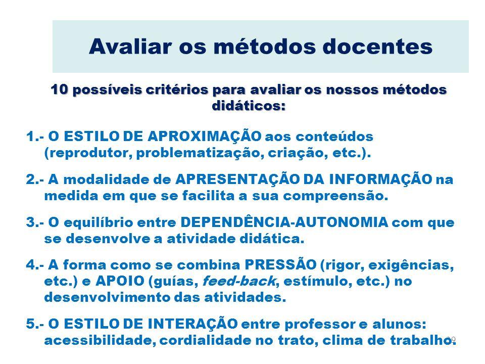 39 Avaliar os métodos docentes 1.- O ESTILO DE APROXIMAÇÃO aos conteúdos (reprodutor, problematização, criação, etc.). 2.- A modalidade de APRESENTAÇÃ